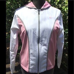 NIKE Ladies White and pink Hooded Track Jacket. M